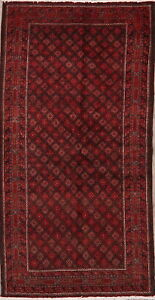 Vintage Geometric Balouch Afghan Oriental Area Rug Wool Hand-Knotted Carpet 3x6