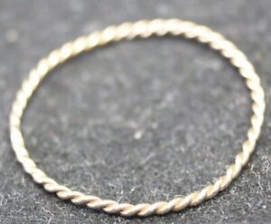 100% Real 9K Solid Rose Gold Dainty Twisted Wire Minimalist Band Ring 8.25 Q 1/2