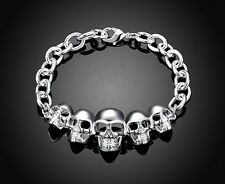 Mens Womens 925 Sterling Silver Plated Skull Head Link Chain Bracelet +Box BR313