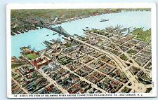 Aerial View Delaware River Bridge Philadelphia PA Camden NJ Vintage Postcard A9