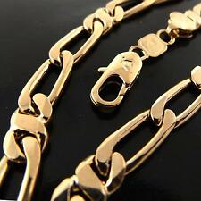 FSA056 REAL 18K ROSE G/F GOLD SOLID MEN'S FIGARO HEAVY LINK NECKLACE CHAIN 60CM