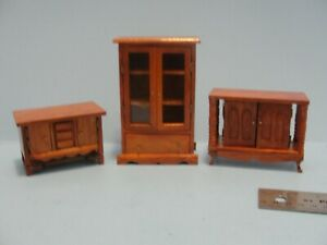 Dollhouse lot of 3 cabinets cupboards 1:12th