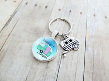 Happy Camper-Cabochon Tibetan silver Glass Pendant Keychain With Camper Charm