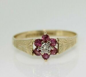 9ct Yellow Gold Ruby and Diamond Cluster Ring Size O 1/2, US 7 1/4
