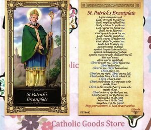 Saint St. Patrick with ST Patrick's Breastplate - Glossy Paperstock Holy Card