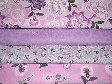 4 FQ Bundle – Shades of Lavender Prints 100% Cotton Quilt Fabric Fat Quarters V3