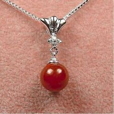Sterling Silver - Red Jade Bead Necklace (NL329)