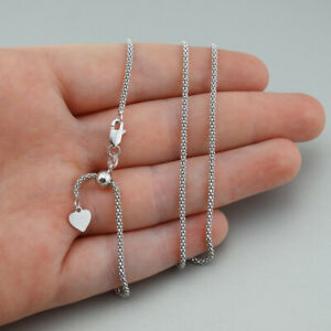 """1.8mm Adjustable 24"""" Popcorn Chain Necklace - Rhodium Plated 925 Sterling Silver"""