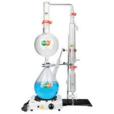 Distillation Apparatus Glassware w/Graham Condenser Lab Essential Oil Steam