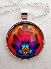 """MULTI LOTUS FLOWER 1""""glass pendant necklace handmade on silver plated 20""""chain"""