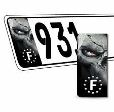 2 x Vinyle Plaque D'Immatriculation Adhésif Crâne Européen Badge France QV 29