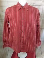 Express Men's Woven Long Sleeve Red/ White Striped Button Up Dress Shirt Medium