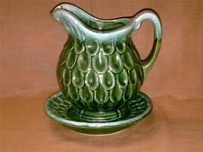 Vintage Tilso Japan Pitcher w/ Basin-Saucer-Bowl-Tear-drop Pattern-Green Drip