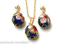 9ct Gold Pendant and Earring Set Chinese Ball Blue Gift Boxed Made in UK