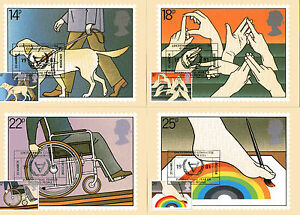 25 MARCH 1981 YEAR OF DISABLED PEOPLE SET OF PHQ CARDS LEICESTERSHIRE SHS