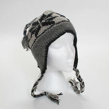 Hand Knitted Earflap Natural Woollen Winter Peruvian Style Ski Hat UNISEX EHN61