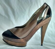 French Connection Womens Ladies Black Brown Leather High Heels Shoes Size 6/39