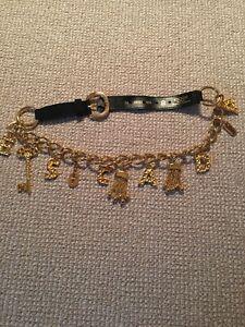 Escada Vintage Chain Logo Charm Belt Size 36