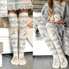 Women Ladies Christmas Xmas Thigh High Long Stockings Knit Over Knee Socks 2018