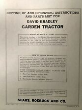 David Bradley Sears 91757562 Garden Tractor Amp Plow Owners Amp Parts 2 Manuals