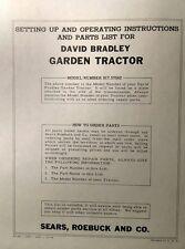 Sears David Bradley Walk Behind Special 91757562 Garden Tractor Owners Manual