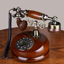 Festnetztelefon Retro Holz Antik Telefon Wählscheiben Anrufer-ID Schnurgebundene