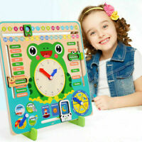 Wooden Calendar Clock Educational Weather Season Toys Learning For Kids