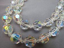 "VTG Aurora Borealis Crystal Necklace 2 Strand Brilliant Flash Rhinestones 24"""