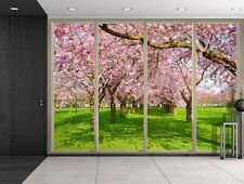Rows of Pink Cherry Blossom Trees Over Green Grass - Creative Wall Mural - 66x96