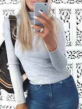Womens Knitted Long Sleeve Polo Neck Jumper Ribbed Roll Turtle Neck Top Cheap BN