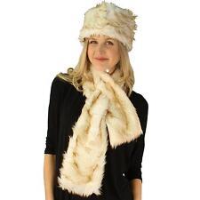 Ladies Winter Soft Animal Print Faux fur Bucket Ski Cap Hat Scarf Set Cream