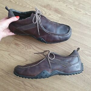 Skechers Brown Genuine Leather Lace Up Shoes Uk 11 Mens deck shoes trainers READ