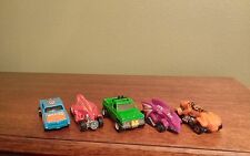 5 Hotwheels Cars - Vintage - 4 Race Cars, 1 Pickup Truck