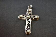 w White Stones - 4.5g Vintage Decorative Sterling Silver Cross Pendant