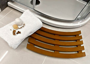 Curved Shaped Solid Beech Wooden Duck Board Bathroom Shower Mat - Antique Pine