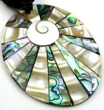 Abalone Shell Mother of Pearl Shiva Eye Pendant Beads Jewelry necklace BA312