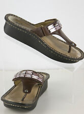 Alegria Women's 7B Brown Leather with Oyster Shell Bling Flip Flop Wedge CAR-604