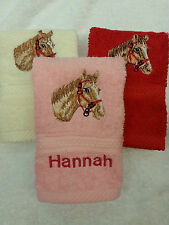 PERSONALISED HORSES HEAD FACE CLOTH  NAME CHRISTMAS GIFT FLANNEL  EMBROIDERED!