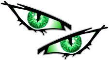 Par De Mal Ojos Ojo Verde Iris Coche Moto Casco Drone Quad Pegatina 50x25mm