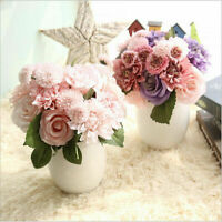 Heads Silk Rose Artificial Flowers Bunch in vase Bouquet Wedding Home Party