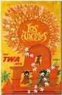 "Cool Retro Travel Poster *FRAMED* CANVAS ART Los Angeles TWA 16""x12"""