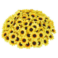 "200pcs Artificial Silk Yellow Sunflower Heads 1.8"" Fabric Floral for Home Decor"