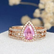 4Ct Pear Cut Pink Sapphire Bridal Set Gorgeous Women's Ring 14K Rose Gold Finish