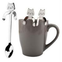 Kawaii Silver Cat Stainless Steel Tea Coffee Spoon Ice Cream Cutlery Tableware