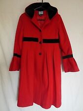Rothschild Young Girl Long Winter Coat Jacket Sz 16 Red Hooded Wool Blend