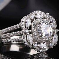 Princess Cut Marquise AAA CZ 925 Silver Women's Engagement Wedding Ring Sz 5-10