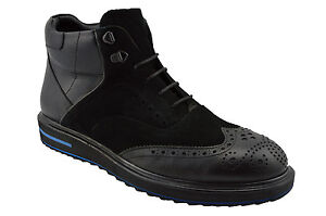 $230 MASQLEN Black Suede & Leather WINGTIP Brogue Ankle Boots Men Shoes