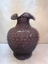Vtg Indiana Glass TIARA Amethyst Purple LARGE Hobnail Ruffled Edges Bud Vase
