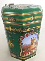 Germany Embossed Octagon Tin Cookie Music Box Green 2007 We Wish You A Merry Xma
