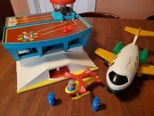 Vintage Fisher Price Airport #996 With Airplane Helicopter People